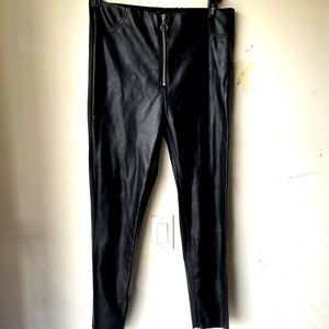 Zara large black faux leather skinny pants large